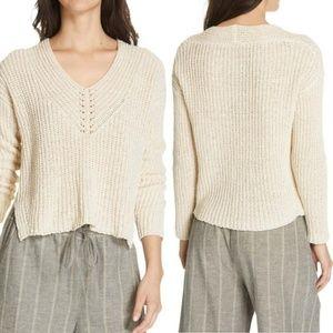 NEW Eileen Fisher Organic Cotton V-Neck Sweater